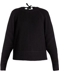 MUVEIL - Tie-back Cable-knit Cotton-blend Jumper - Lyst