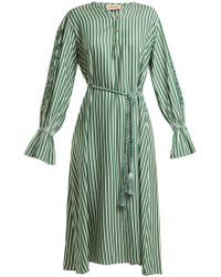 Adriana Degreas - Striped Pineapple-embroidered Dress - Lyst