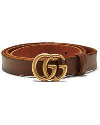 Gucci - Gg Logo 2cm Leather Belt - Lyst