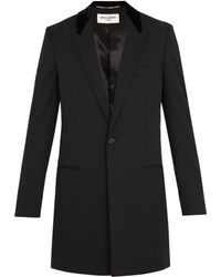 Saint Laurent | Contrast-collar Single-breasted Wool Coat | Lyst
