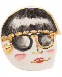 Sonia Boyajian Funny Face Ceramic Brooch - Multicolor