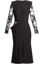 Alexander McQueen - Lace Sleeve Crepe Midi Dress - Lyst