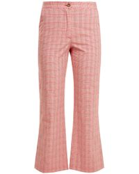 Stella Jean | Checked Cotton-blend Flared Trousers | Lyst