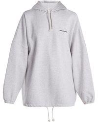 Balenciaga - Oversized Cotton Blend Hooded Sweatshirt - Lyst