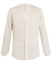 Saint Laurent - Granddad-collar Pinstriped Shirt - Lyst