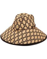 Gucci - Gg Logo Wide Brimmed Raffia Hat - Lyst
