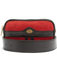 3c2776eba55 Gucci Ophidia Small Suede   Leather Belt Bag in Red - Lyst