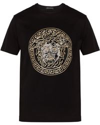Versace - Medusa Head Sequinned Motif T Shirt - Lyst