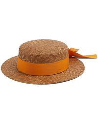 Federica Moretti   Ribbon-embellished Flat Top Straw Hat   Lyst