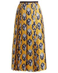 Gucci - Gg Wallpaper-print Pleated Silk Midi Skirt - Lyst