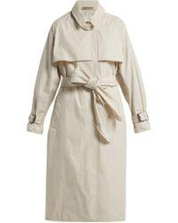 Bottega Veneta - Single Breasted Cotton Blend Trench Coat - Lyst