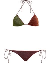 Oséree - Lumière Two Tone Metallic Triangle Bikini - Lyst