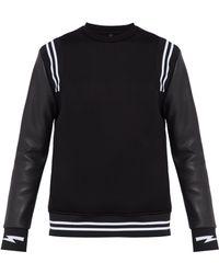Neil Barrett - Sweat-shirt à manches en similicuir - Lyst