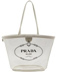 2df9b77aee6d66 Prada Printed Cotton Canvas Tote in Pink - Lyst
