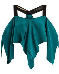 Roland Mouret - Bach Off-the-shoulder Draped Silk Crepe Top - Lyst