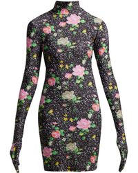 Vetements - Floral Print Glove Sleeved Jersey Mini Dress - Lyst