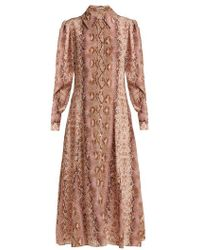 Emilia Wickstead - Lucinda Python-print Silk Shirtdress - Lyst