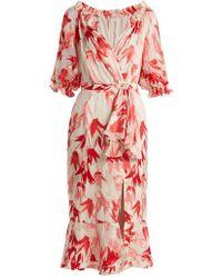 Saloni - Olivia Tulip-print Devoré Dress - Lyst