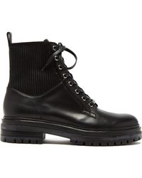 Gianvito Rossi - Ribbed Panel Lace Up Leather Boots - Lyst