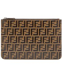 Fendi - Ff Logo Leather Pouch - Lyst