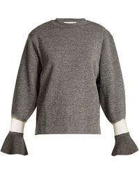 Toga - Flared Cuff Sheer Panel Wool Sweater - Lyst