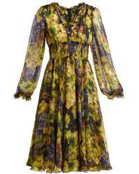 Dolce & Gabbana - Grape-print Silk Chiffon Midi Dress - Lyst