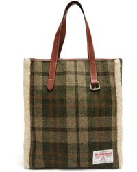 JW Anderson - Shearling Trimmed Checked Harris Tweed Tote - Lyst