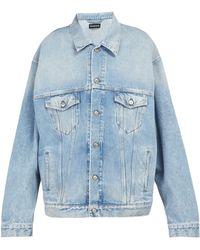Balenciaga - Embroidered Oversized Denim Jacket - Lyst