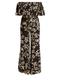 f94e88198a5 Athena Procopiou - Wild Grace Off The Shoulder Silk Jumpsuit - Lyst
