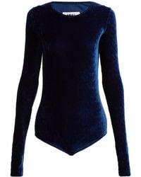 MM6 by Maison Martin Margiela - Velvet Jersey-blend Bodysuit - Lyst