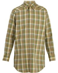 Maison Margiela - Point-collar Checked Cotton-twill Shirt - Lyst