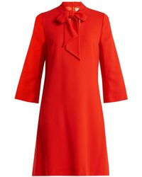 Goat - Ginny Neck Tie Wool Crepe Dress - Lyst