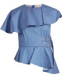 Sea - Striped Strap Side Cotton Twill Top - Lyst