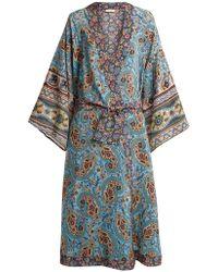 Anjuna - Kandela Paisley Print Silk Robe - Lyst