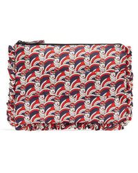 La Doublej Editions - Graphic-print Ruffle-trimmed Pouch - Lyst