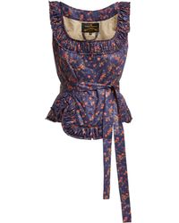 Vivienne Westwood Anglomania - Revolution Floral Print Cotton Bustier Top - Lyst