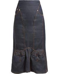Marine Serre - Sculpted Denim Midi Skirt - Lyst