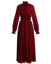 Giambattista Valli - - High Ruffle Neck Dress - Womens - Burgundy - Lyst