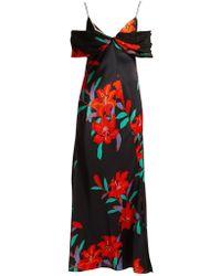 Diane von Furstenberg - Argos Floral-print Silk-satin Dress - Lyst