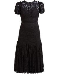 Dolce & Gabbana - Floral Lace Gathered Midi Dress - Lyst
