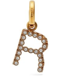 Burberry - R Crystal Embellished Letter Charm - Lyst