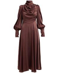 Zimmermann - Draped Silk Blend Satin Midi Dress - Lyst