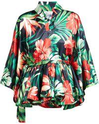Richard Quinn - Palm Print Silk Satin Kimono Top - Lyst