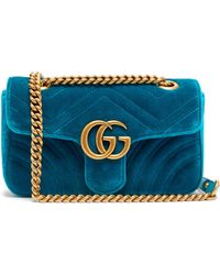 b2ebc1051 Gucci Gg Marmont Small Quilted Velvet Shoulder Bag in Green - Lyst