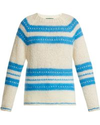 45eb5b480015 Lyst - ALEXACHUNG Green And Pink Oversized Striped Sweater in Green