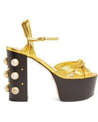 ff60a1bac Gucci - Allie Embellished-heel Platform Sandals - Lyst