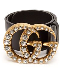 d8e8d349b54 Gucci - Crystal Embellished Gg Logo Leather Belt - Lyst