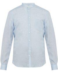 Thom Sweeney - Band Collar Shot Slubbed Linen Poplin Shirt - Lyst