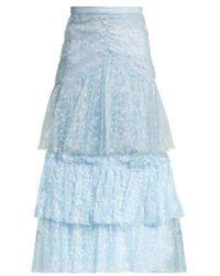 Rodarte - - Tiered Ruffled Lace Midi Skirt - Womens - Blue Print - Lyst