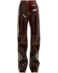 MSGM - Relaxed Crinkle-effect Vinyl Trousers - Lyst